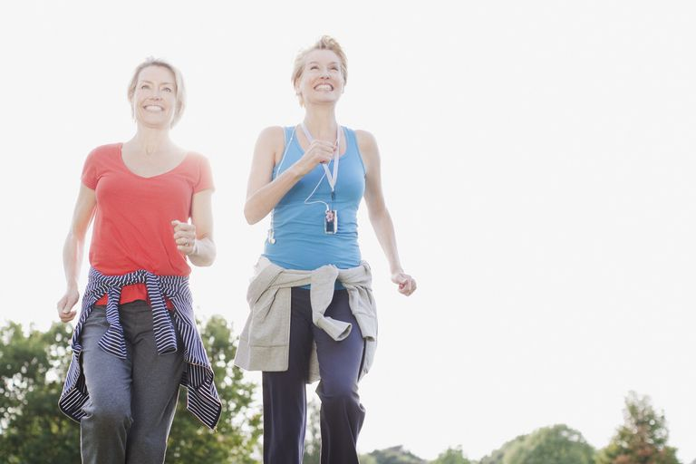 Two women walking for fitness