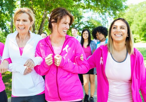 Women participating in breast cancer awareness walk