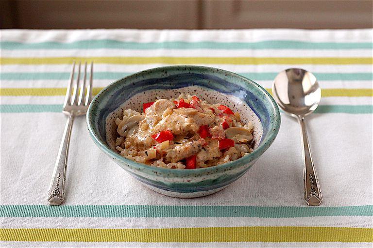 Healthy chicken stroganoff