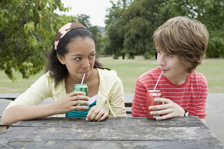 Young People Drinking Soft Drinks