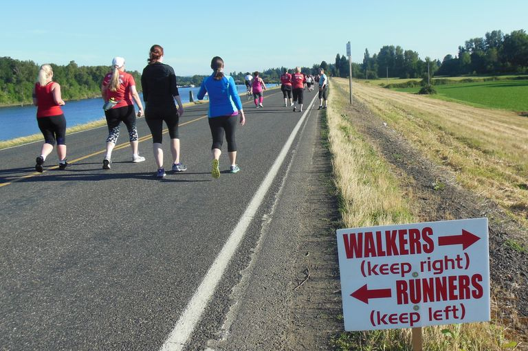 Walkers Right - Runners Left on Half Marathon