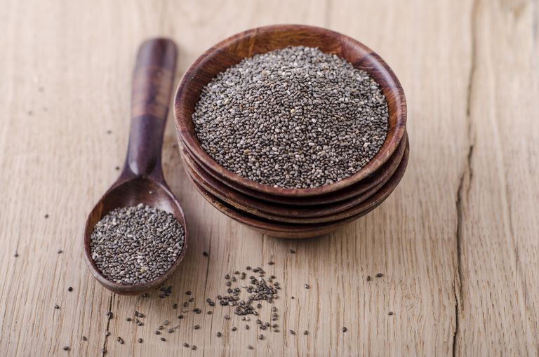 wooden bowl and spoon of chia seeds