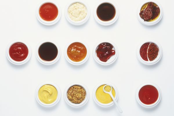small containers of condiments