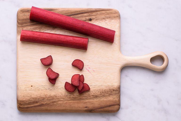 Rhubarb sliced on a cutting board
