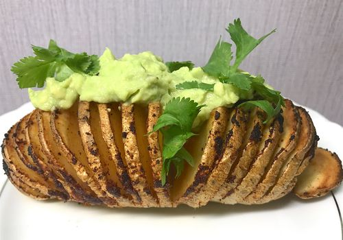 hasselback potato with guac