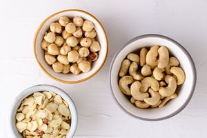Three bowls of nuts