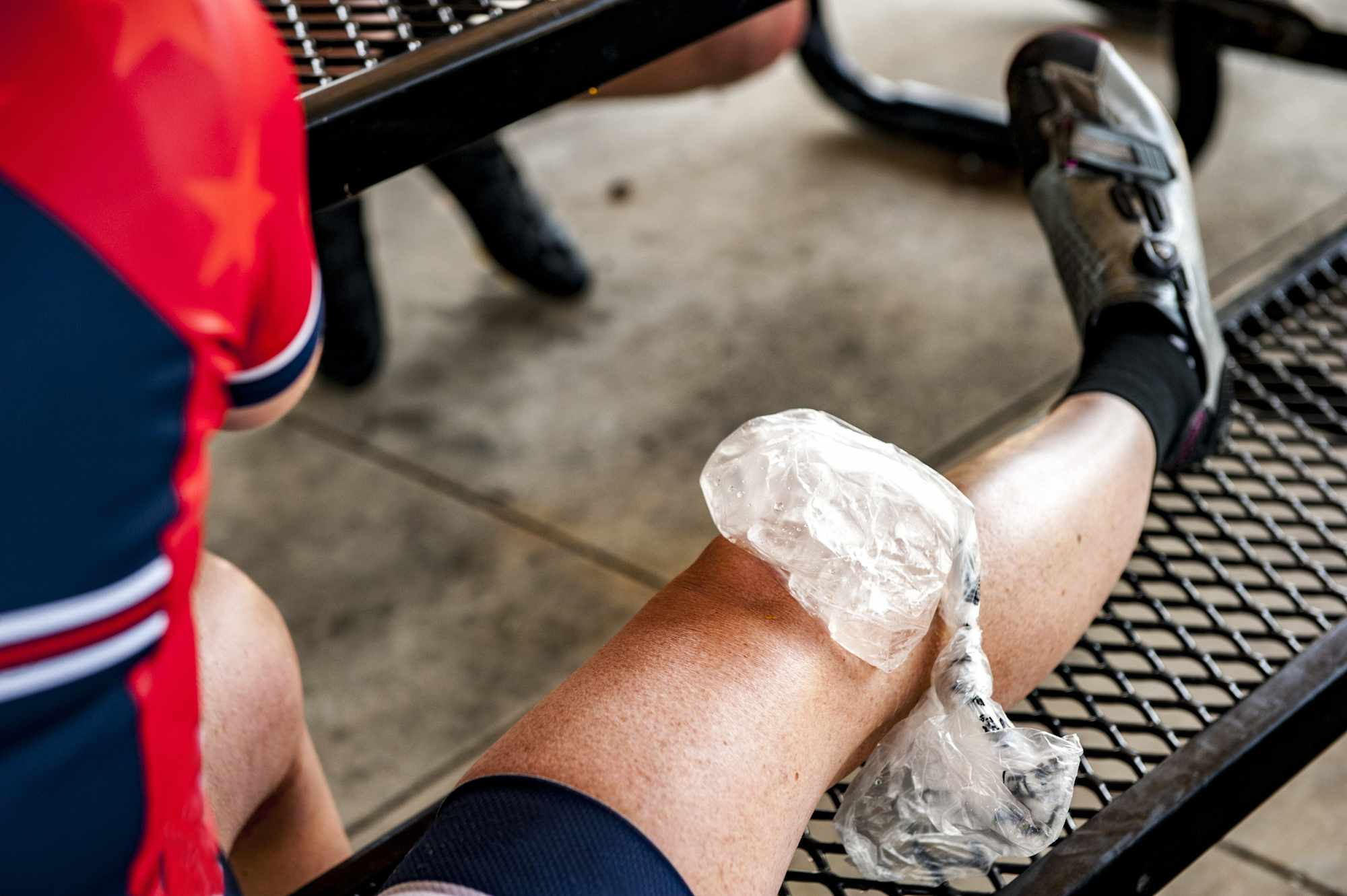 Bag of ice on an athlete's knee