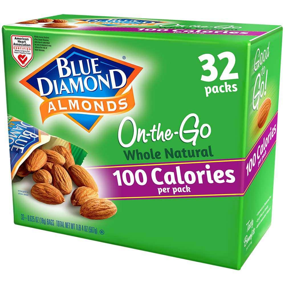 Blue Diamond Almonds 100 Calorie On The Go Raw Almond Bags