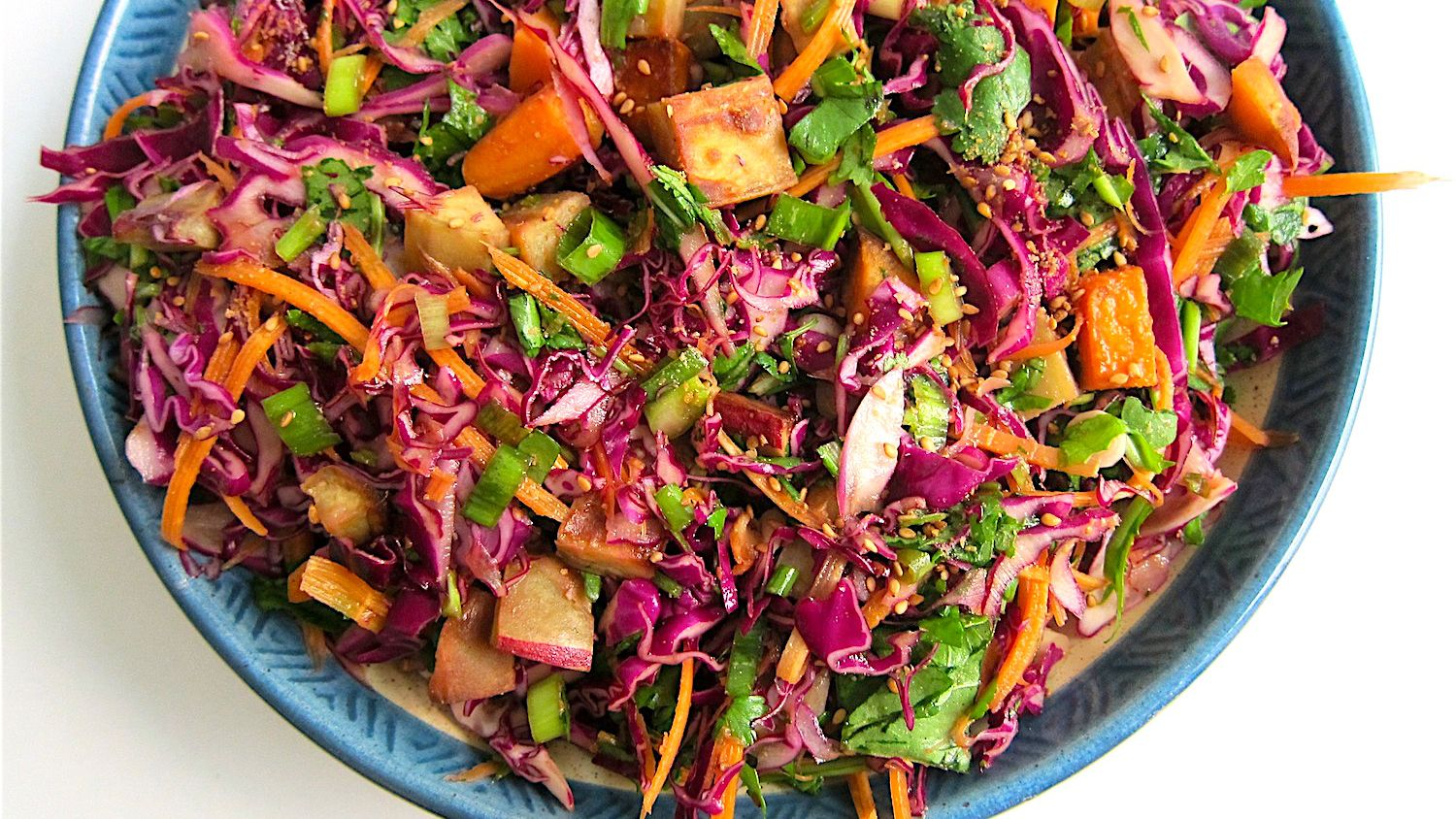 Sweet Potato And Red Cabbage Slaw With Miso Soy Dressing