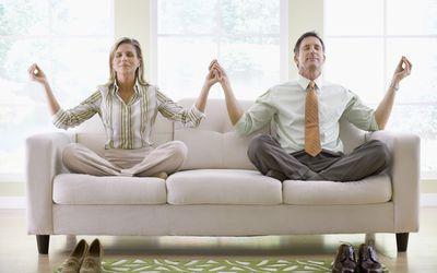 older couple meditating