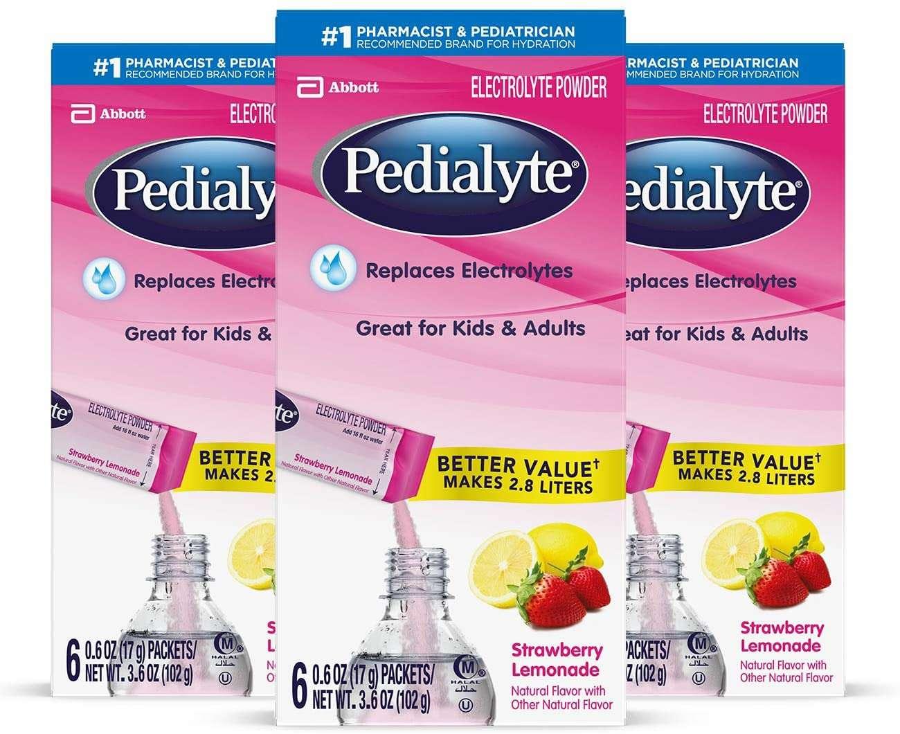 Pedialyte Electrolyte Powder Strawberry Lemonade