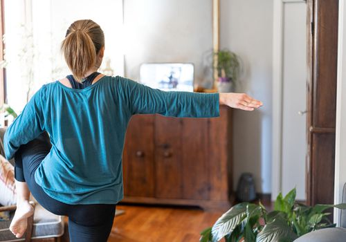 Woman doing a short workout at home