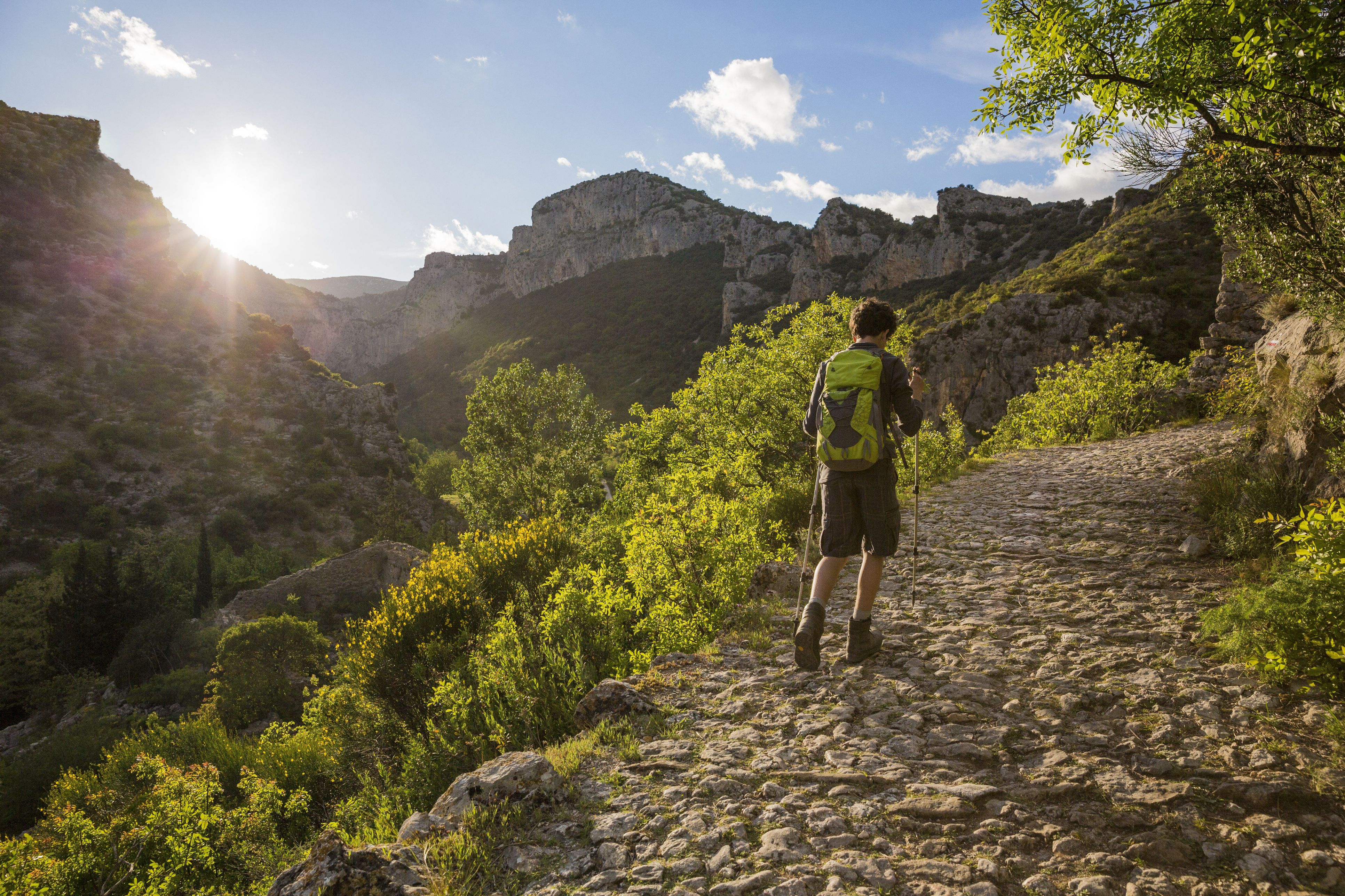 France, Herault, Saint Guilhem Le Desert, walker on the Via Tolosana on the Route of Compostela with a view of Max Negre's cliffs and the Cirque de l'Infernet