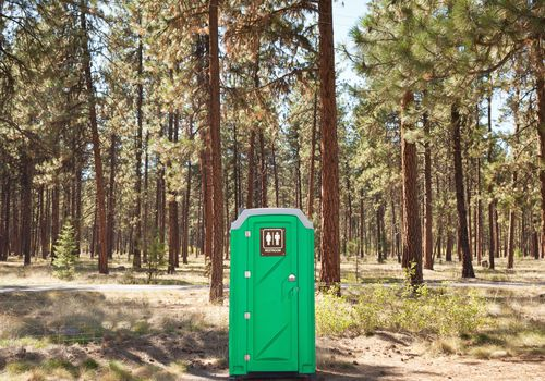 Portable toilet on the edge of forest