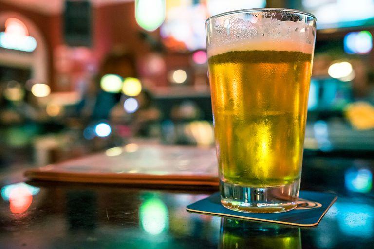 light beer on bar at restaurant