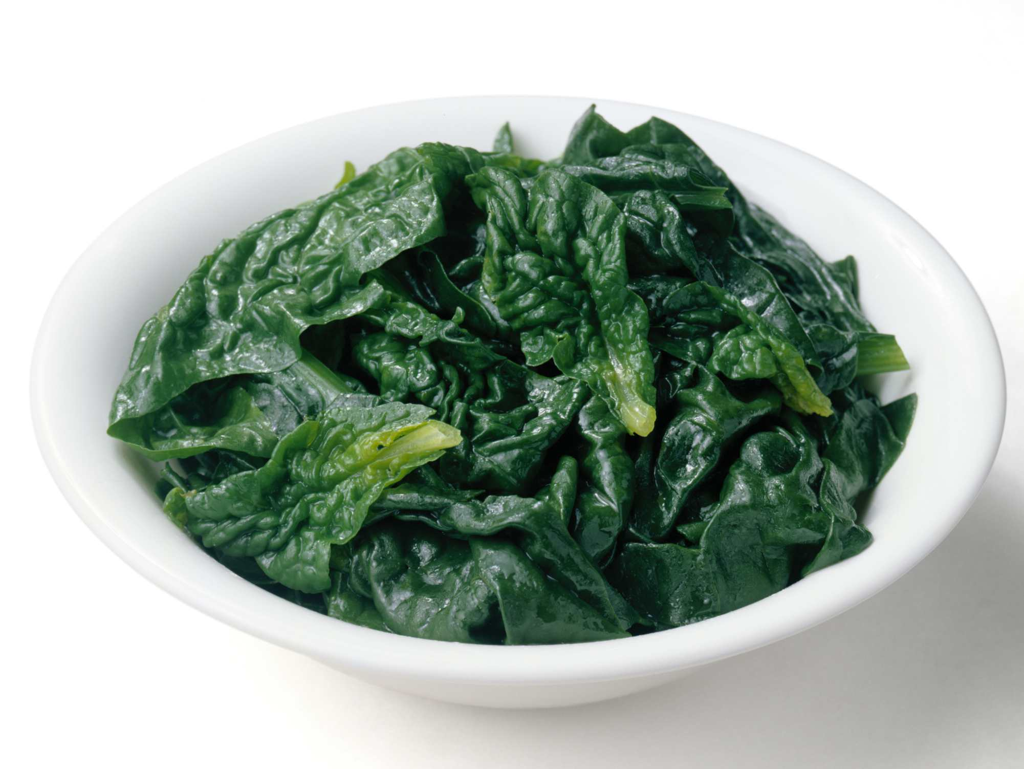Steamed spinach is high in calcium.