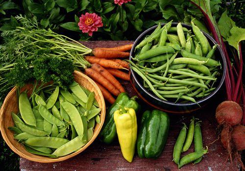 Zanahorias, guisantes, pimientos y remolachas reunidos en un jardín.