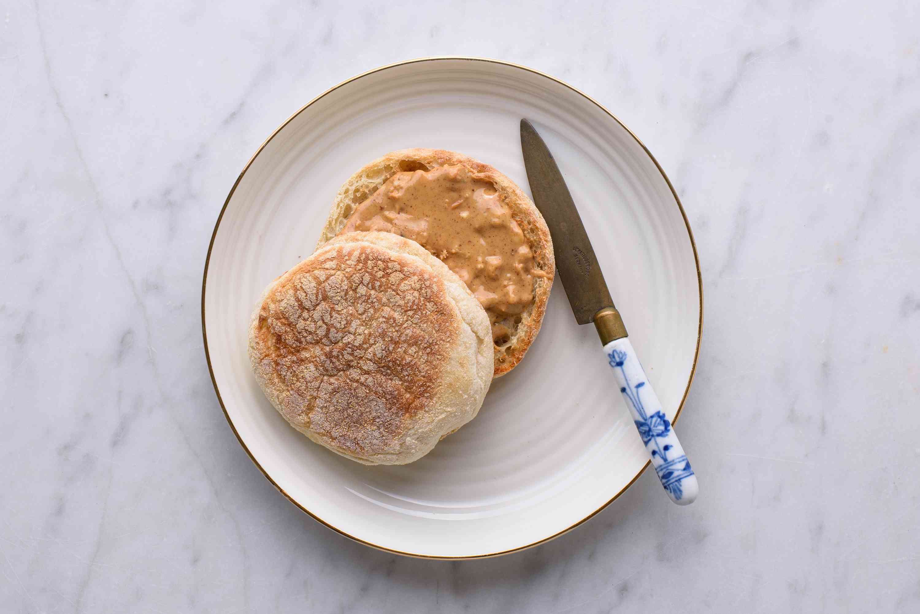 toasted English muffin with peanut butter