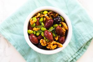 Garlicky Olive, Walnut, and Edamame Mix
