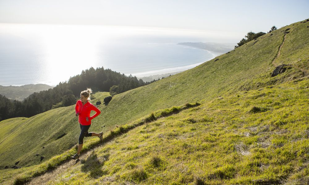 Trail running above the ocean