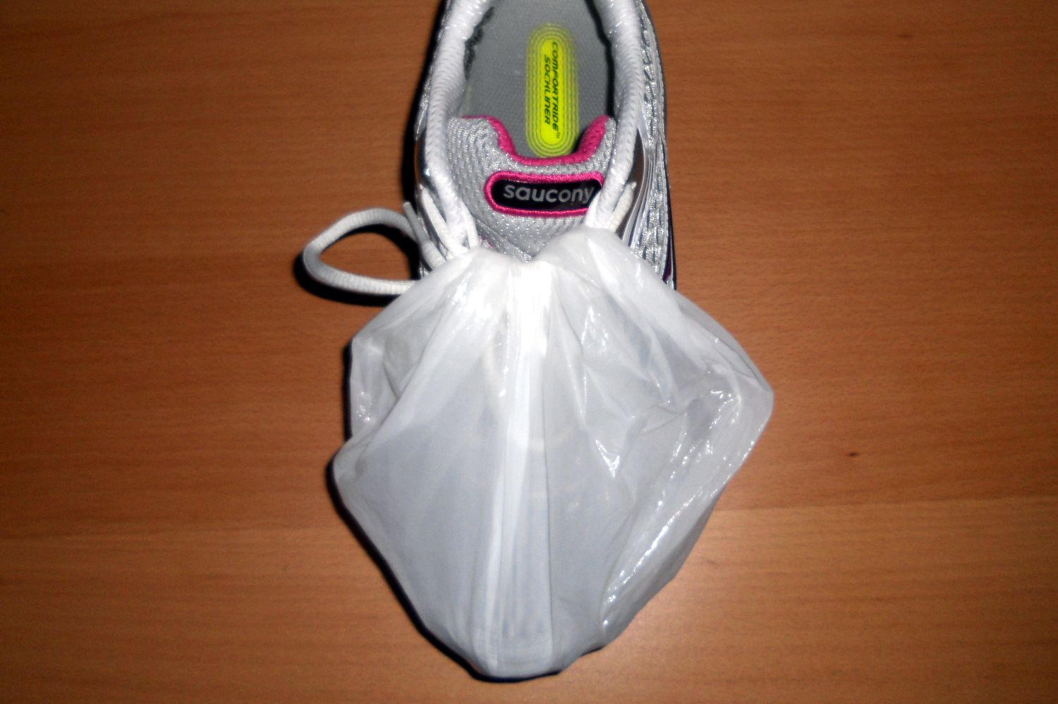5059d3f1a725 Waterproof Your Shoes With a Disposable Shower Cap