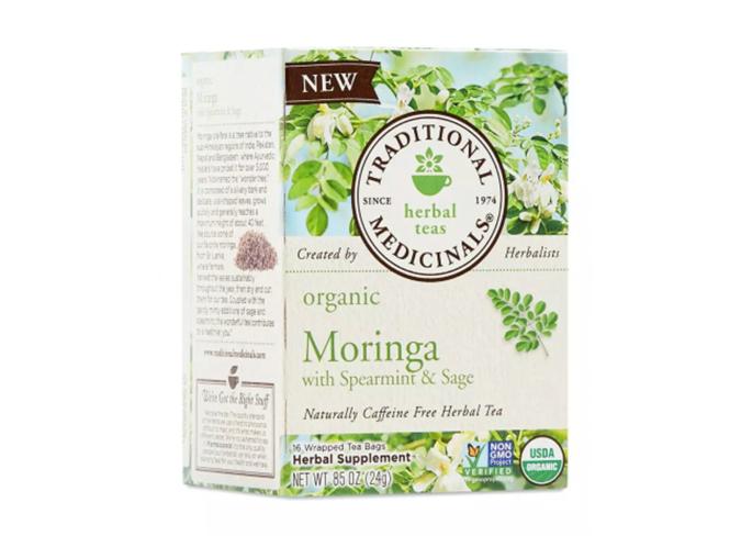 Moringa orgánica de Traditional Medicinals con té de menta verde y salvia