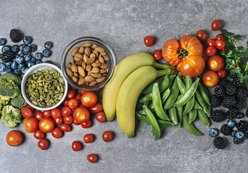 fruit, vegetables and nuts