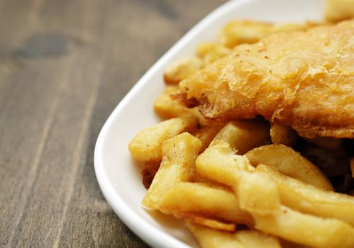 plate of traditional English fish and chips