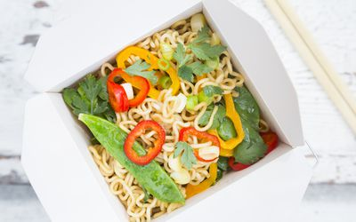 chinese food in carryout box