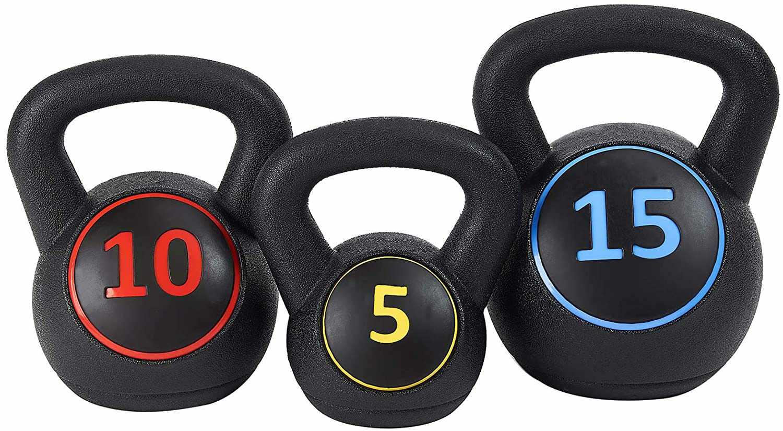 BalanceFrom Wide Grip 3-Piece Kettlebell Set