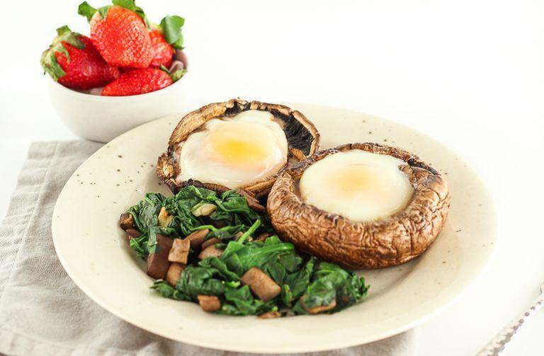 Low carb portabella mushroom baked eggs