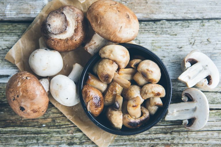 Mushrooms on a wooden table