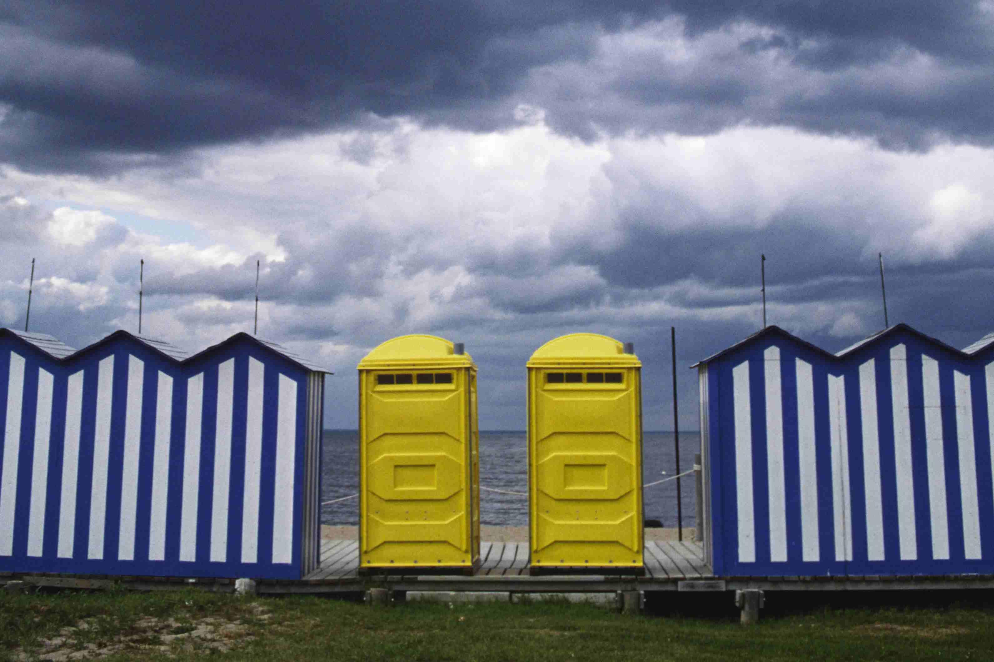 portable toilets outside