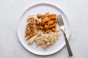 plate of chicken, rice, and sweet potatoes