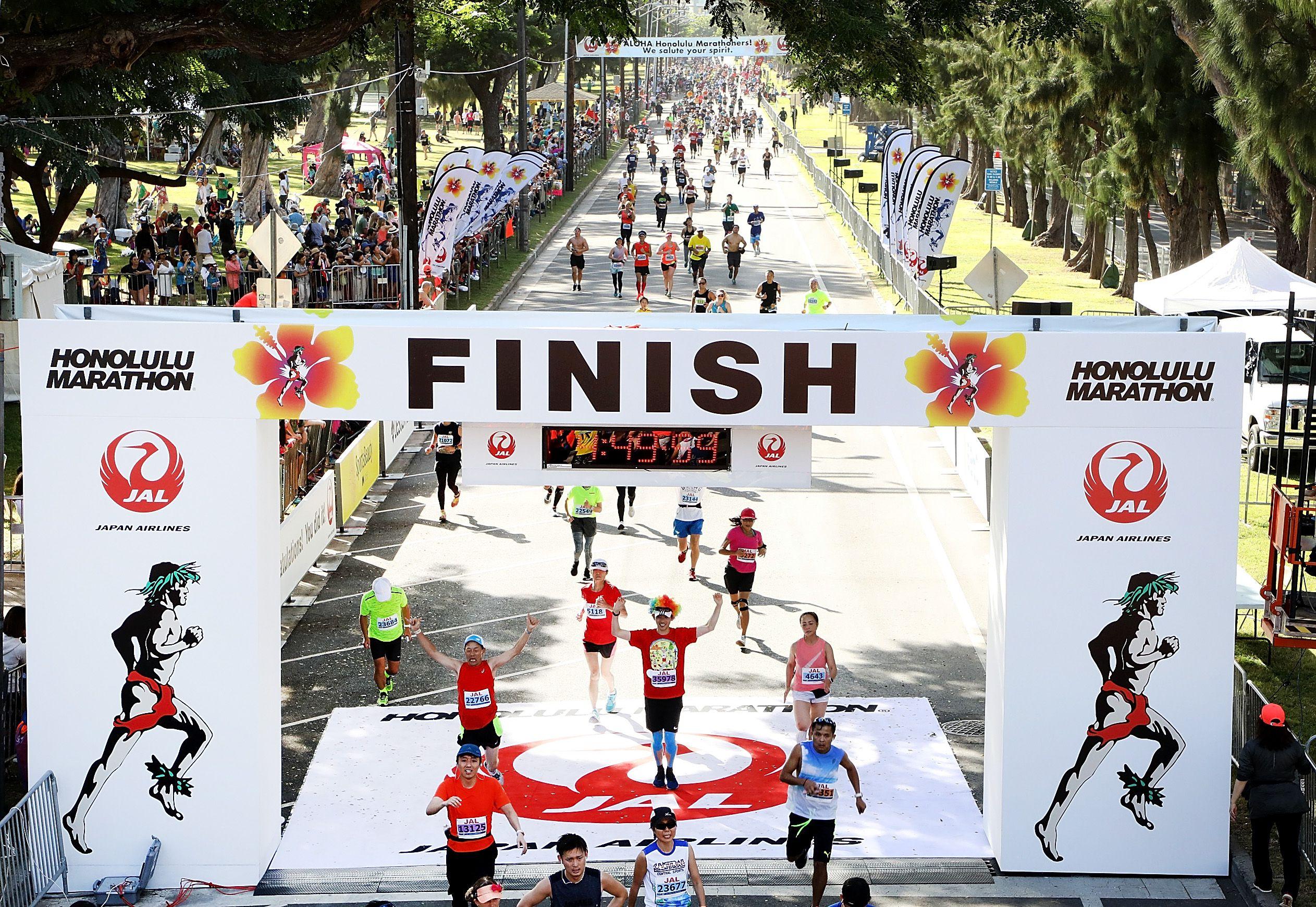 Línea de meta del maratón de Honolulu
