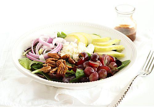 pear, grape, and feta salad