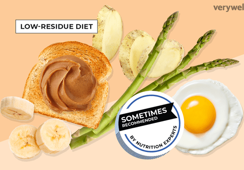 Banana, toast, potato, asparagus, and egg in low-residue diet