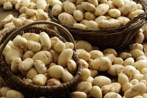 Baskets full of white potatoes