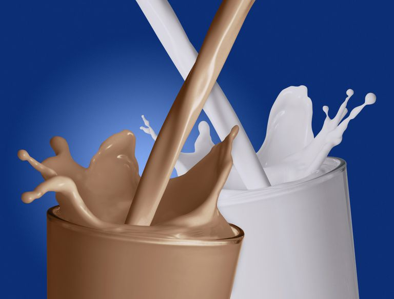 plain and chocolate milk