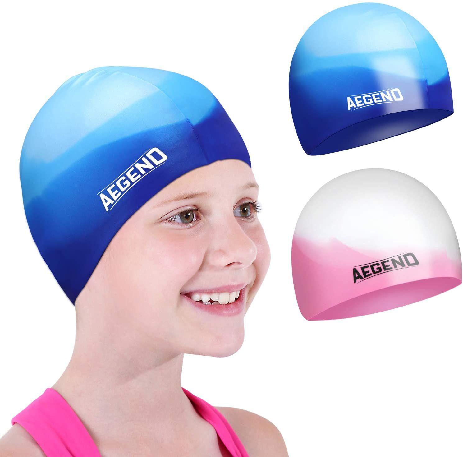 Aegend Silicone Swim Cap 2-Pack
