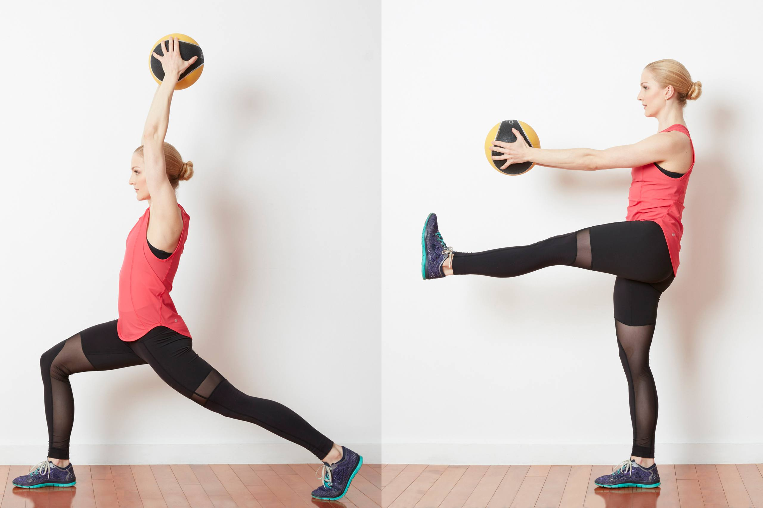 Medicine Ball Lunge with Toe Touches