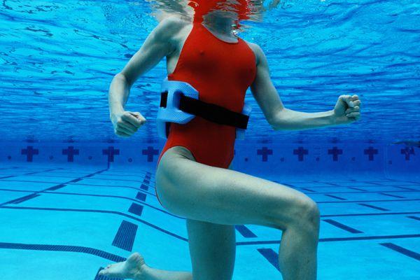 A woman water running.