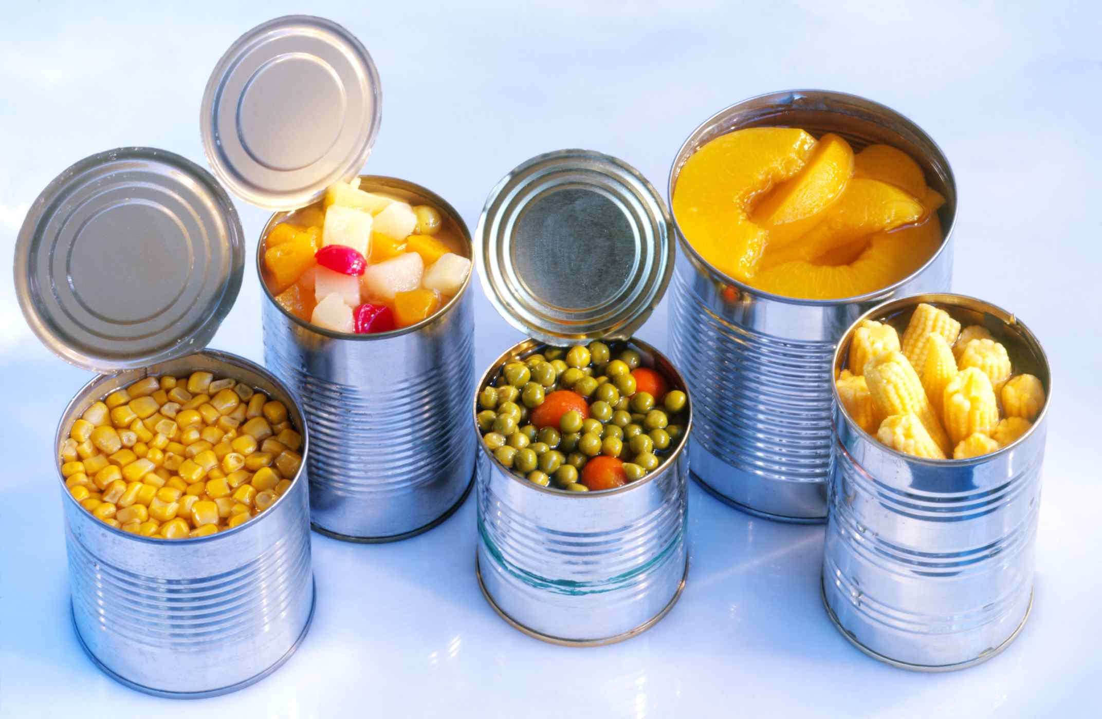 Canned fruits and vegetables are good to buy in bulk.