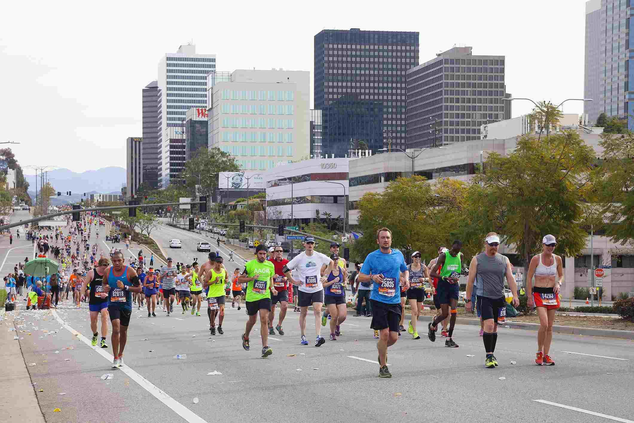 Corredores en el Maratón de Los Ángeles