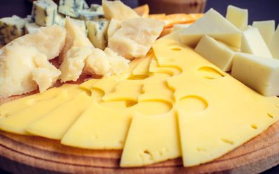 Foods forbidden on the paleolithic or paleo diet plate of different sliced and cubed cheeses malvernweather Images