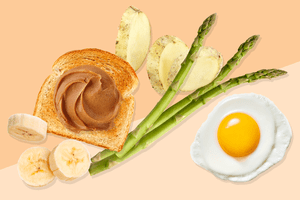 Banana, toast, potato, asparagus, egg in low-residue diet