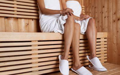 two women in a sauna