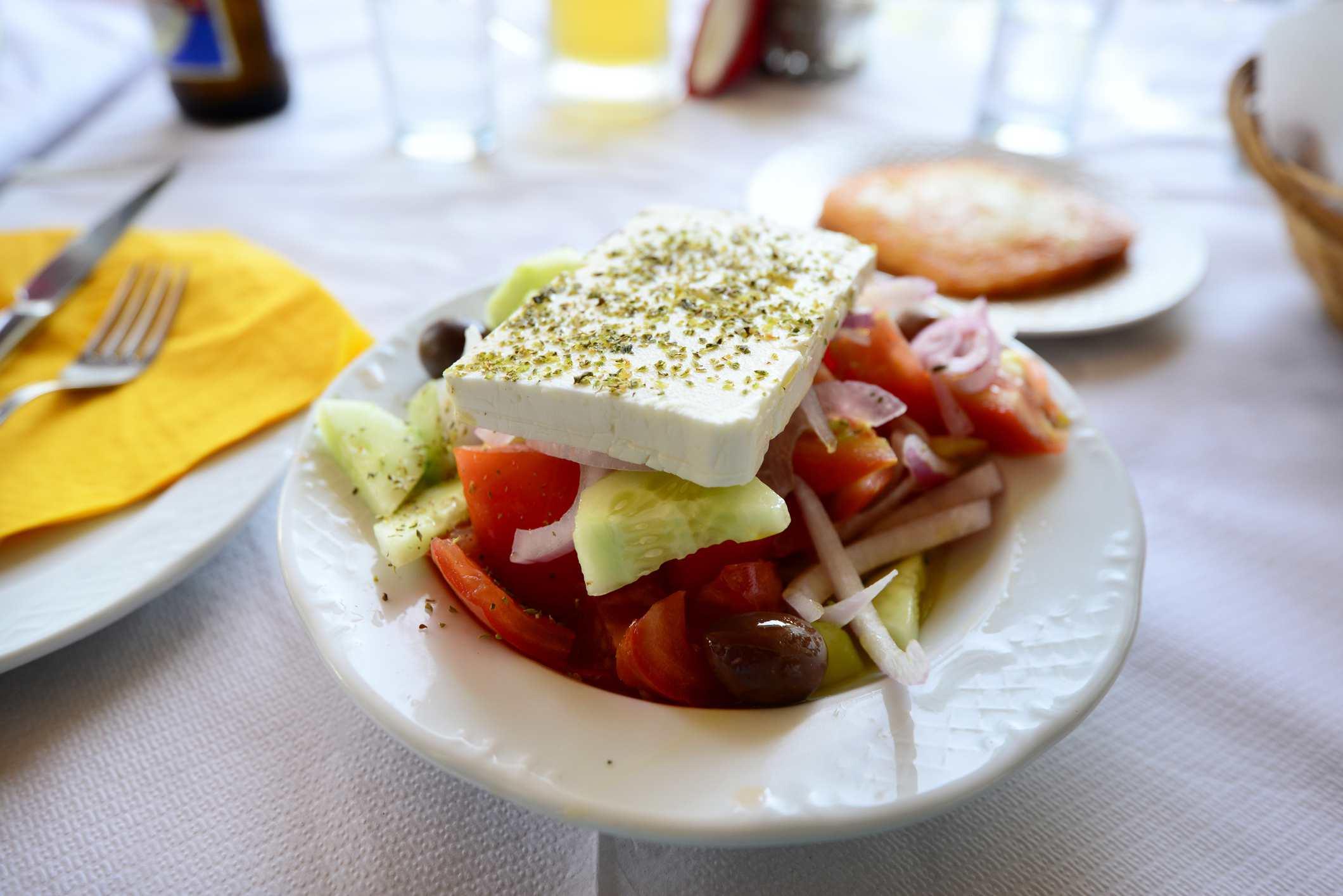 greek salad in greek restaurant