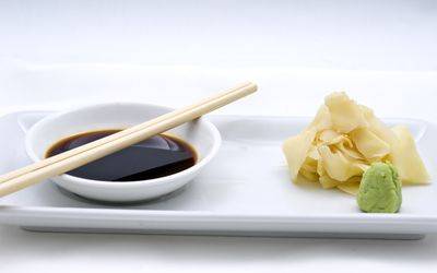 soy sauce with ginger and wasabi