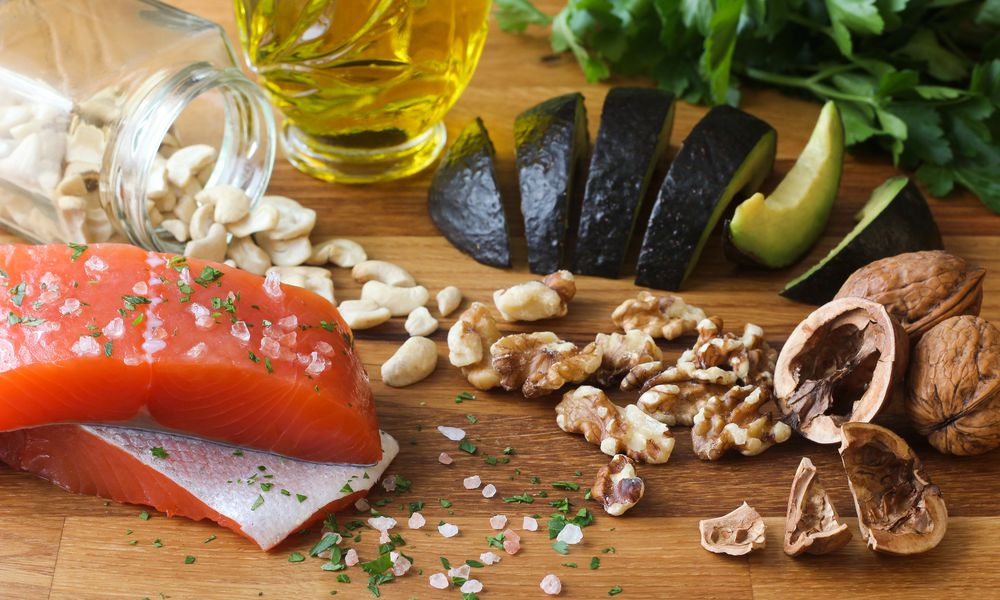 Omega-3 Foods on Wood Background